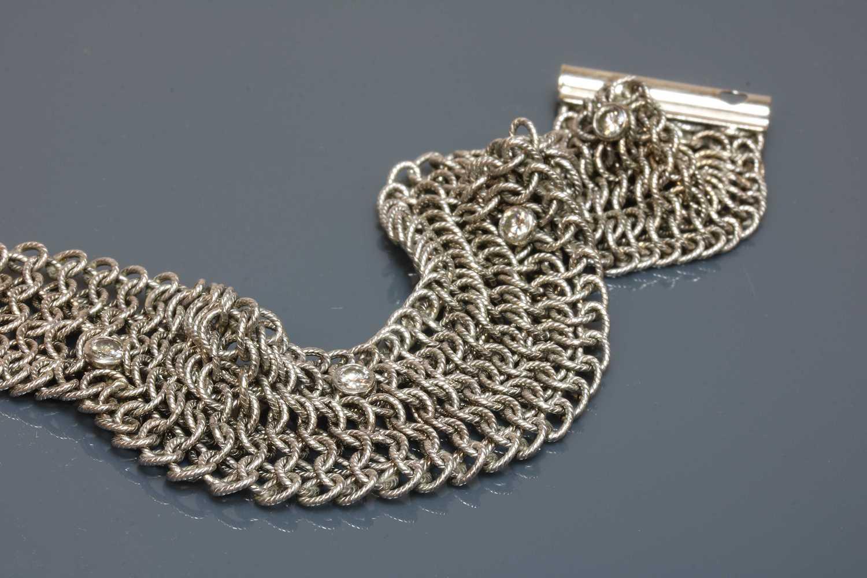 An 18ct white gold diamond set chain mail bracelet, - Image 4 of 4