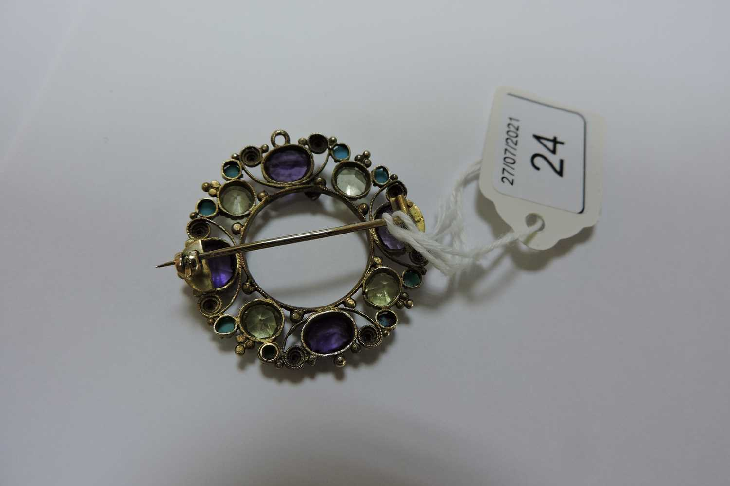 A Regency gold amethyst, chrysolite and turquoise cannetille brooch/pendant, - Image 3 of 3