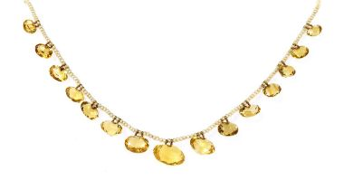 A late Victorian seed pearl and citrine fringe necklace,