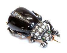 A former Austro-Hungarian garnet and diamond beetle brooch, c.1870,