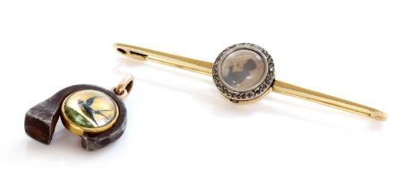 A gold and steel reverse painted crystal intaglio charm/pendant, c.1890,