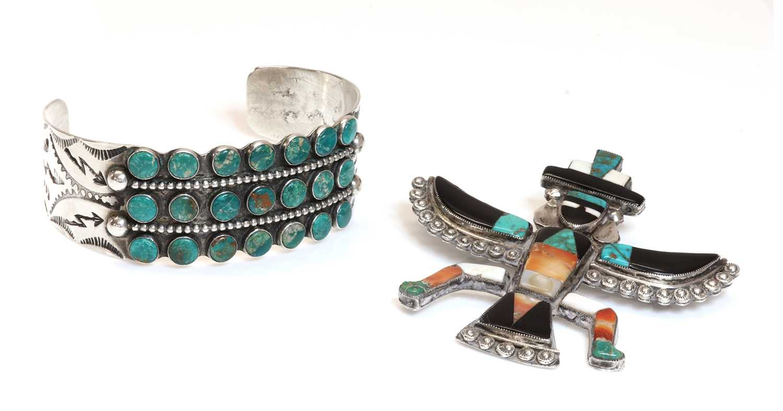 A native American silver Zuni 'bird man' brooch,