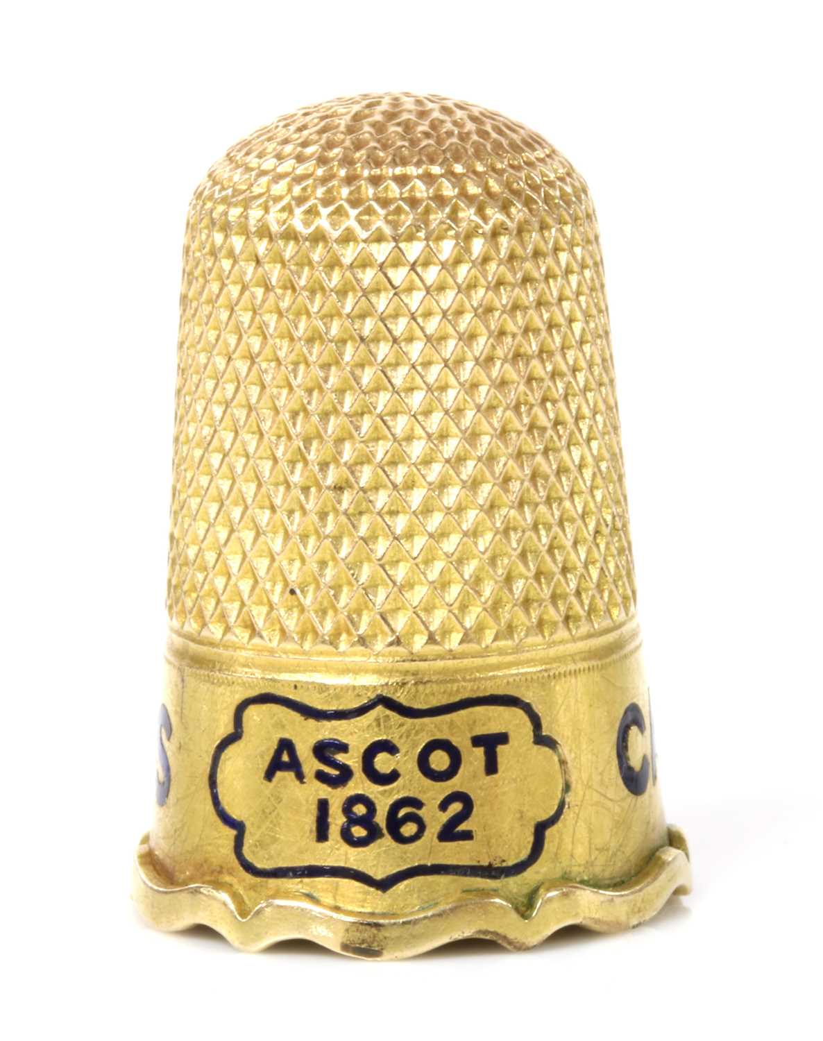 Of racing interest: a Victorian gold thimble, - Image 4 of 4
