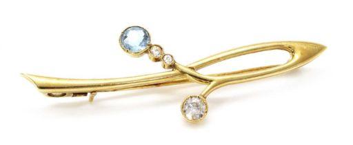 A gold aquamarine and diamond bar brooch, c.1915,