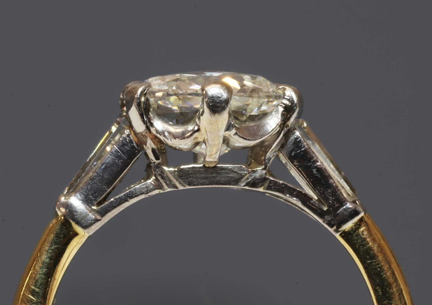 A single stone diamond ring with a jubilee crown cut diamond, - Image 2 of 3