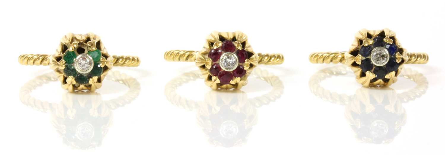 A set of three diamond and gem set stacking rings, c.1950, - Image 2 of 2