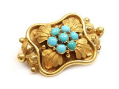 A Victorian turquoise brooch, c.1840,