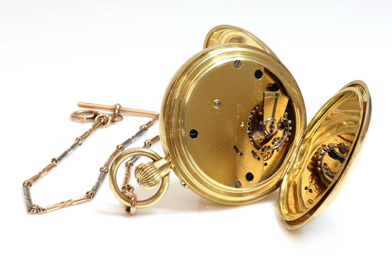 An 18ct gold side wide half hunter pocket watch, - Image 2 of 4