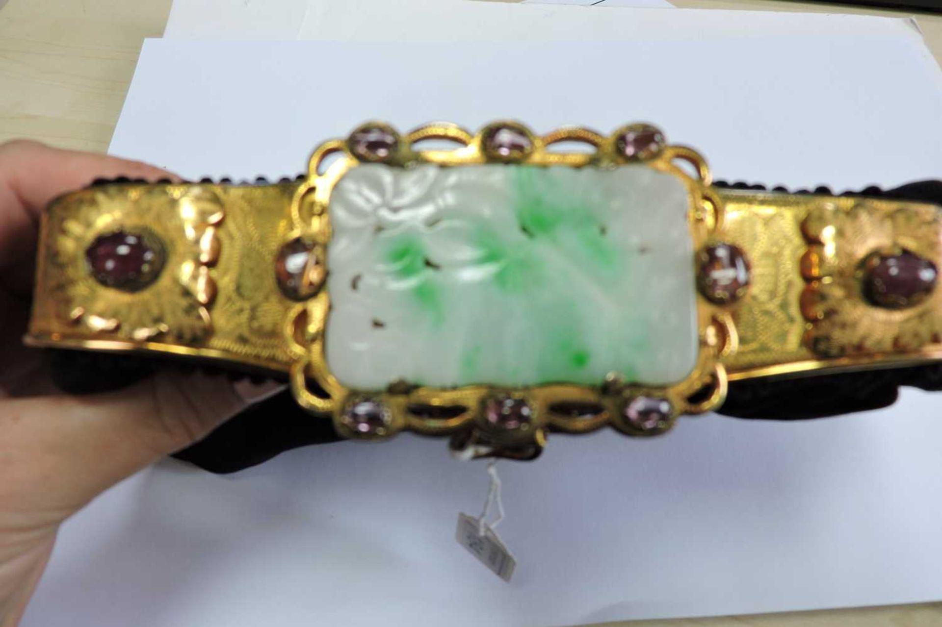 A black grossgrain gem set evening clutch bag, c.1930 - Image 7 of 9