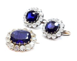 A pair of Austrian sapphire and diamond cluster earrings c.1890,