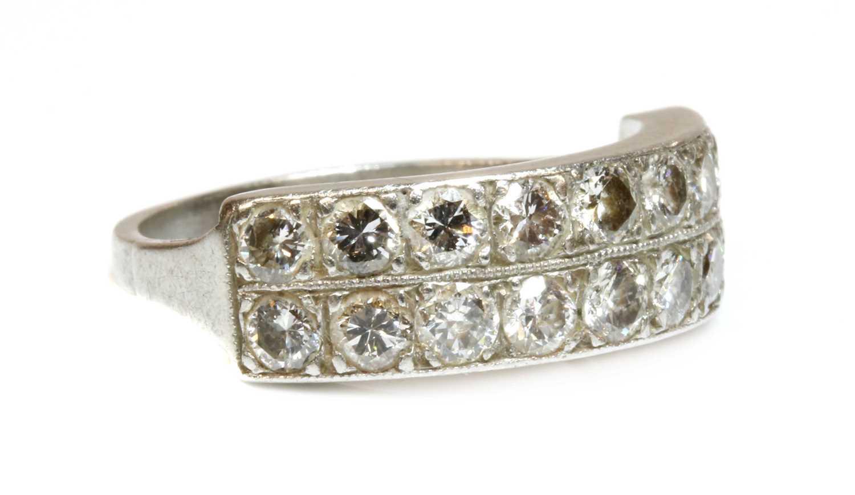 A two row diamond half eternity ring,