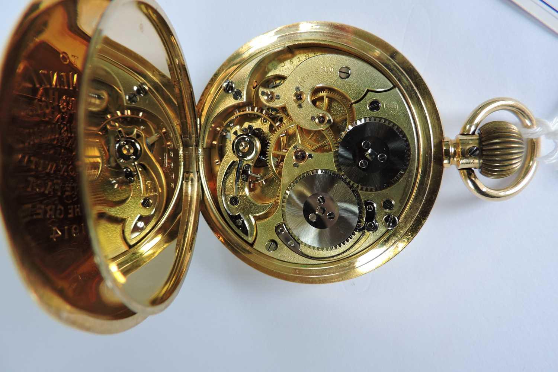An 18ct gold Swiss side wind half hunter pocket watch, - Image 5 of 7
