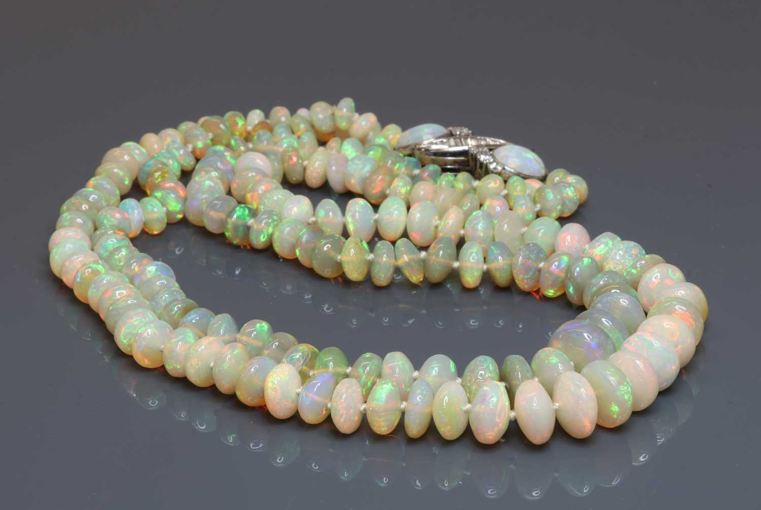 A two row graduated opal bead necklace, - Image 4 of 5