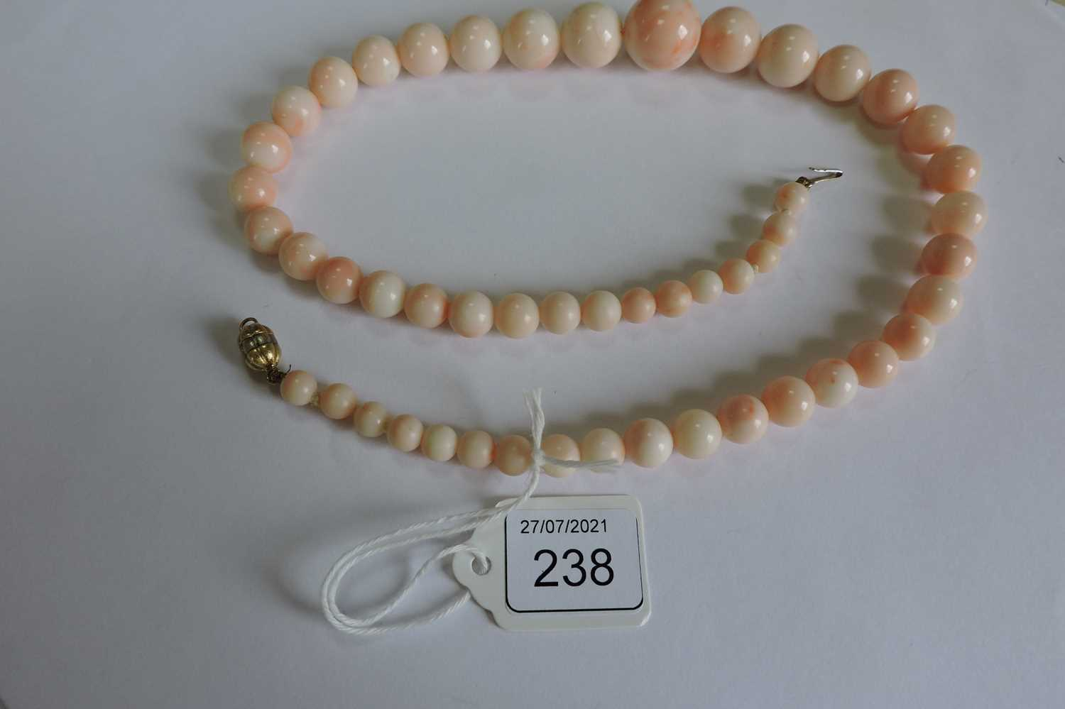A single row graduated angel skin coral bead necklace, - Image 2 of 4