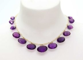 A Victorian seed pearl and amethyst fringe necklace,