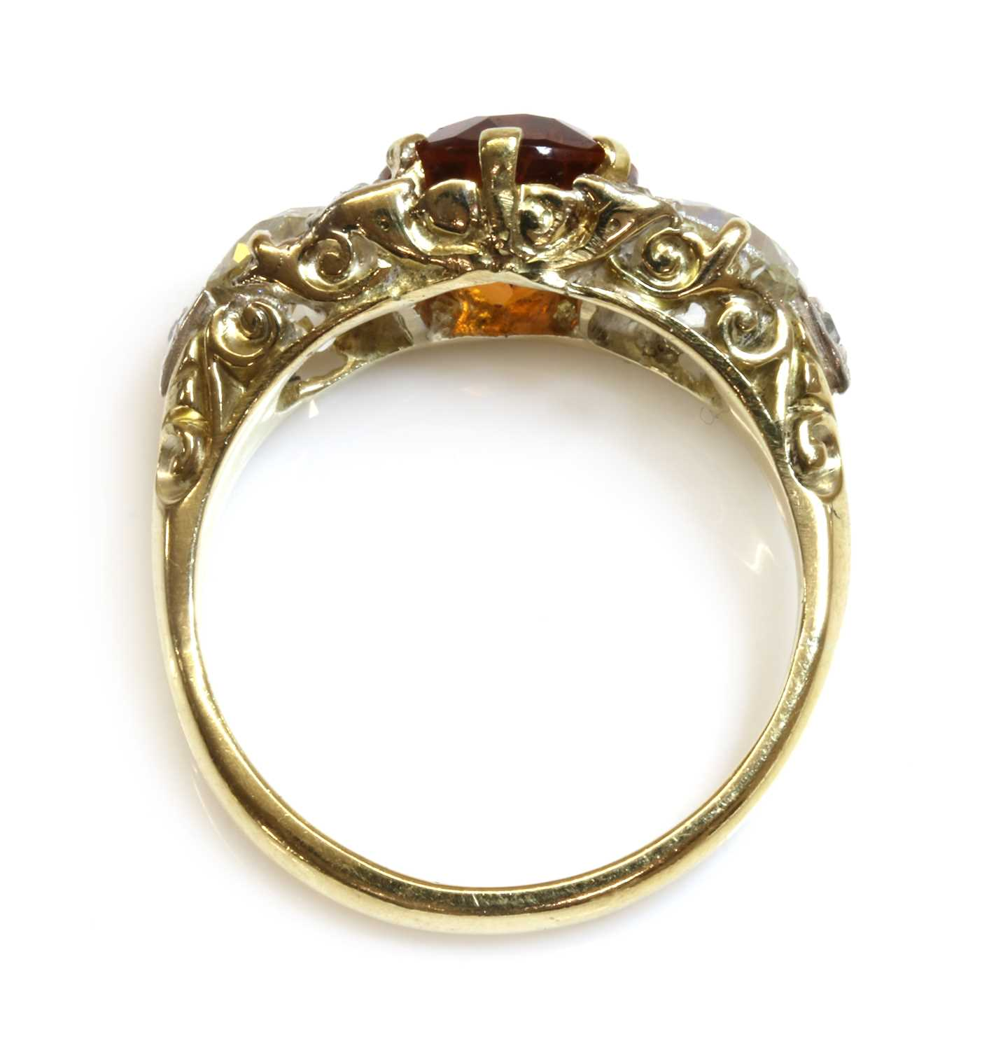 A late Victorian citrine and diamond boat shaped carved head ring, - Image 3 of 4