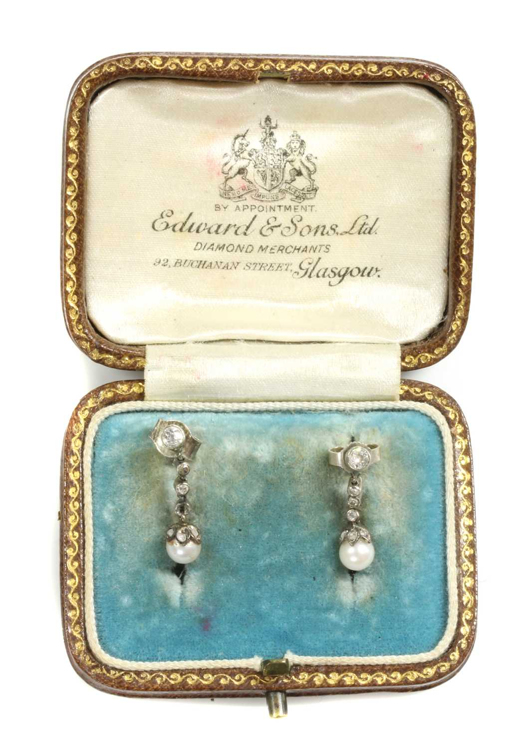 A cased pair of early 20th century pearl and diamond drop earrings, - Image 2 of 5