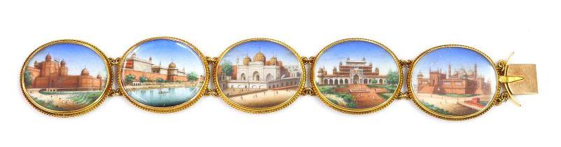 A 19th century painted miniature gold bracelet,