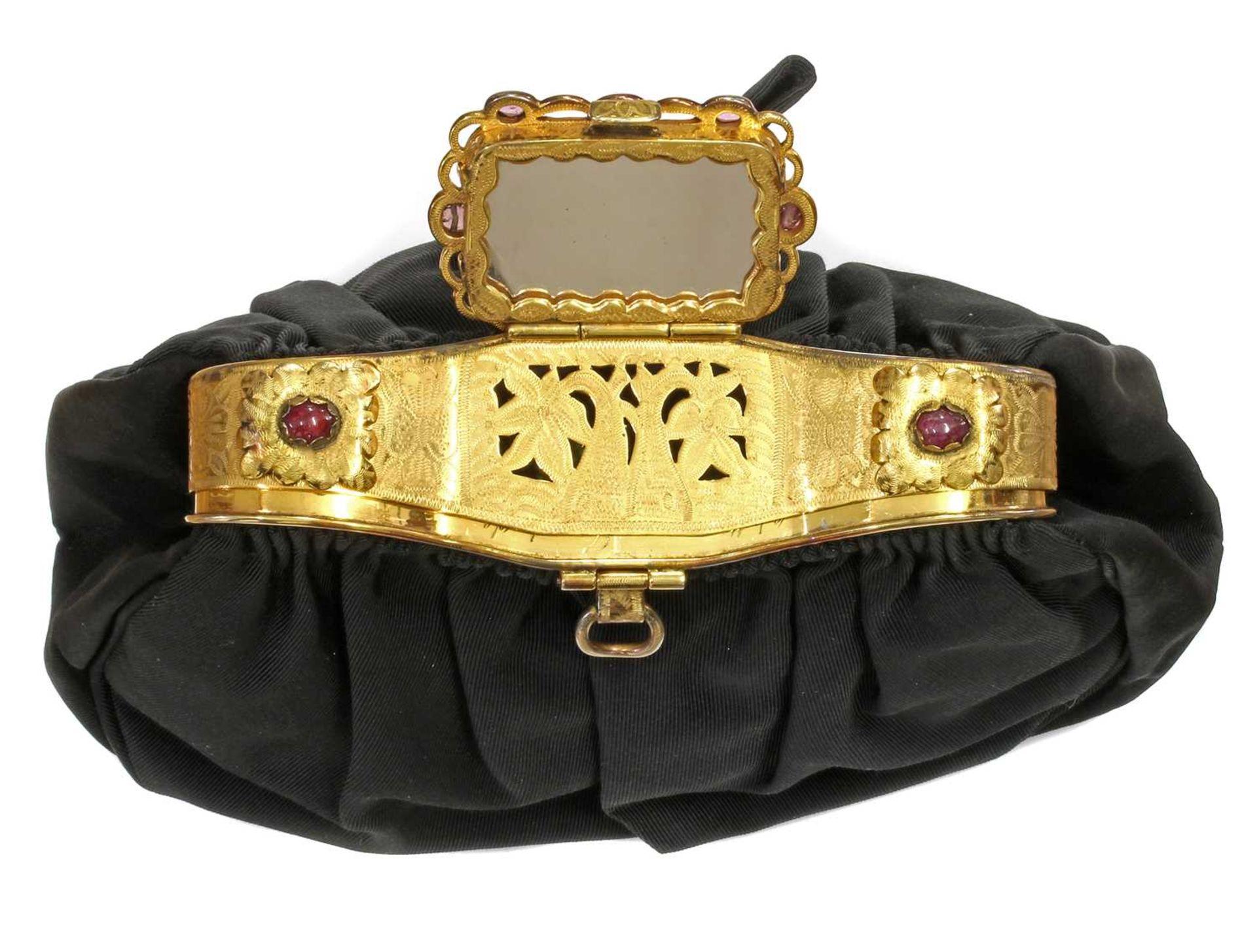 A black grossgrain gem set evening clutch bag, c.1930 - Image 3 of 9