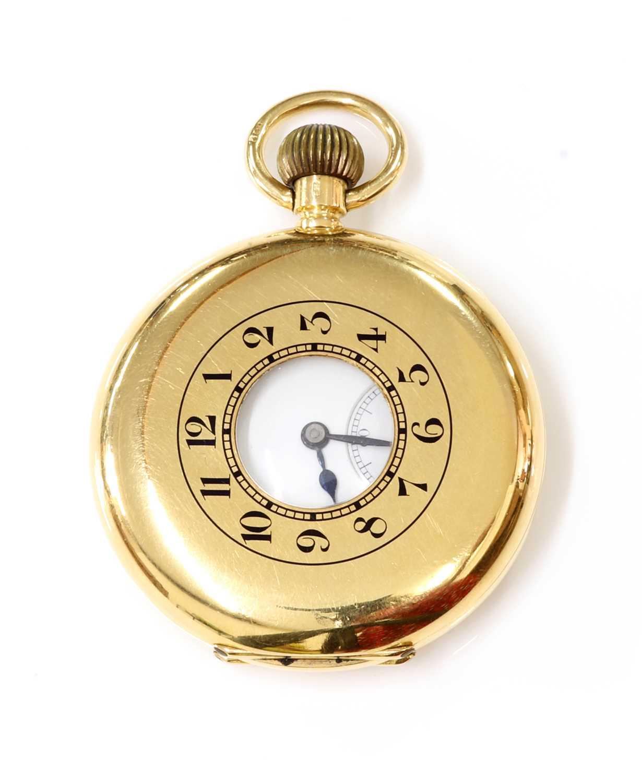 An 18ct gold Swiss side wind half hunter pocket watch, - Image 2 of 7