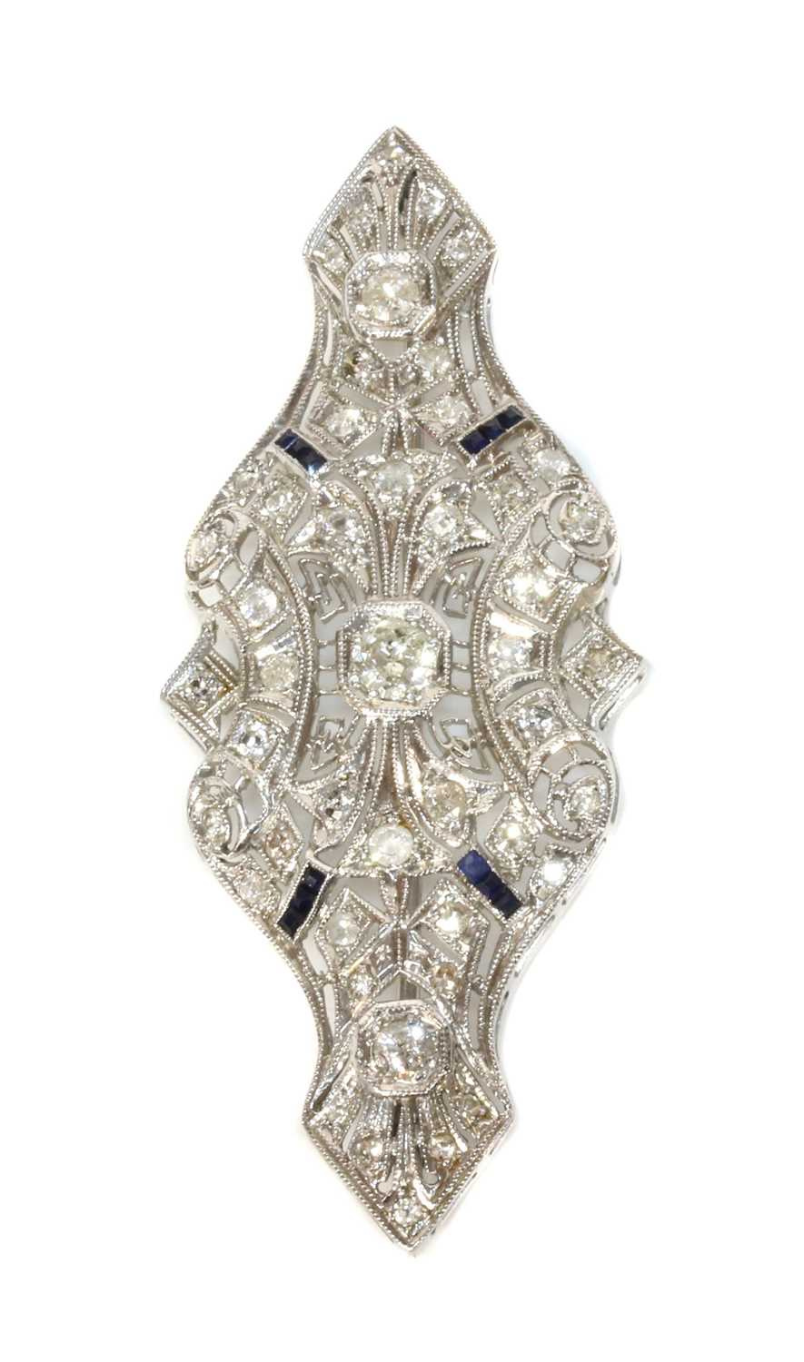 An American Art Deco style diamond and sapphire plaque brooch/pendant, - Image 2 of 2