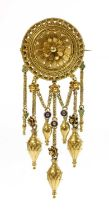 A gold enamel archaeological revival Etruscan style fringe brooch, by Fortunato Pio Castellani, c.18