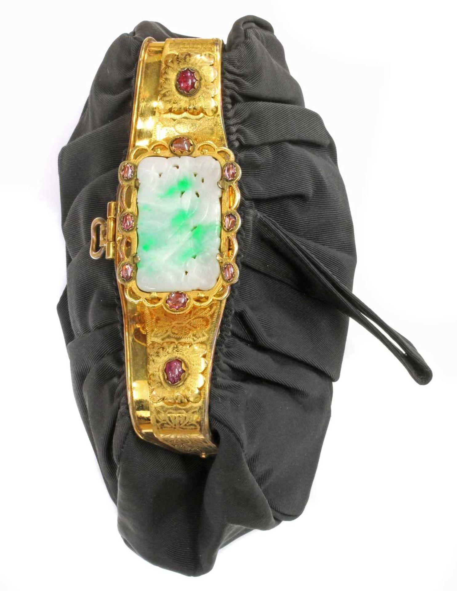 A black grossgrain gem set evening clutch bag, c.1930 - Image 2 of 9