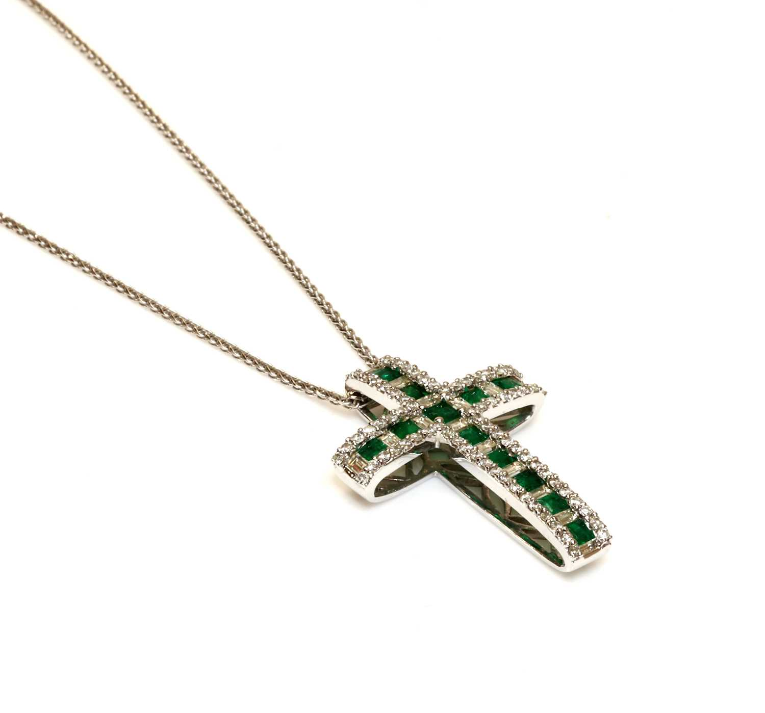 An 18ct white gold emerald and diamond Latin style cross, - Image 2 of 2