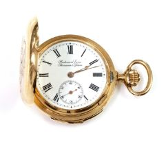 A Swiss 14ct gold hunter repeater fob watch,