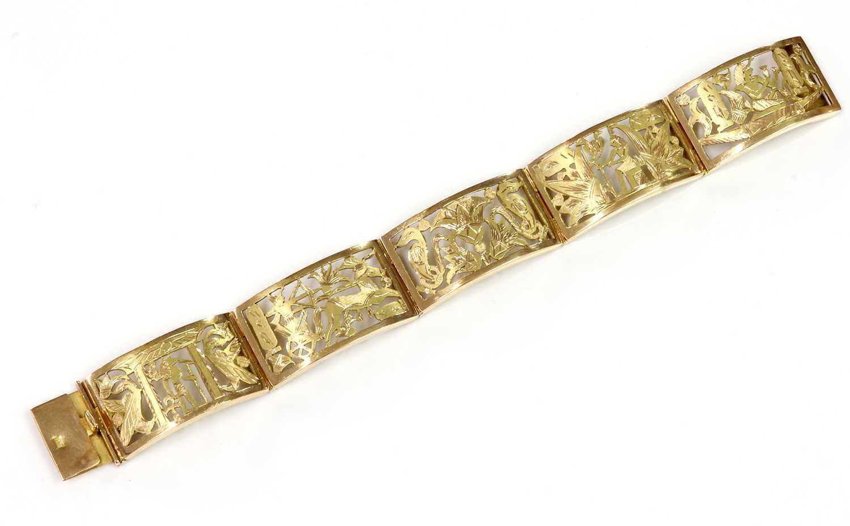 An Egyptian gold panel bracelet,