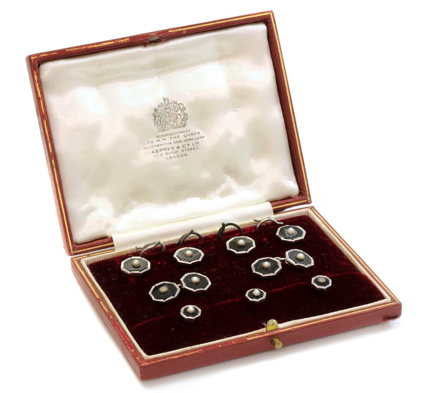 A cased 9ct white gold onyx and split pearl gentlemen's dress set, by S.J. Rose,