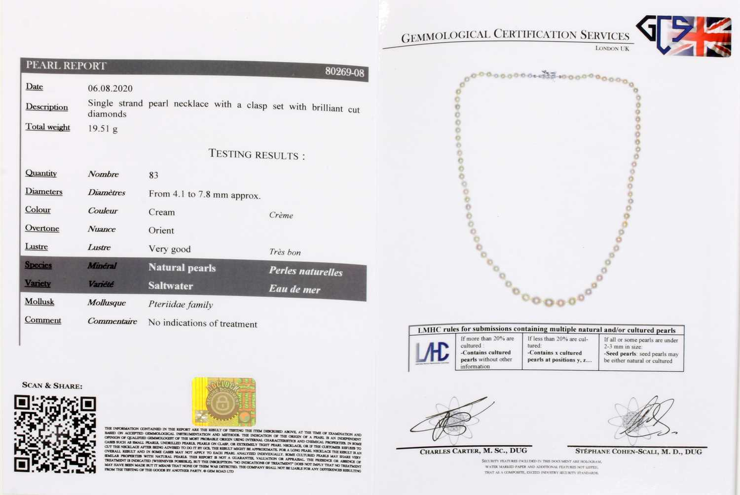 A single row graduated natural saltwater pearl necklace, - Image 4 of 12
