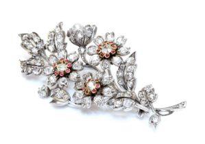 A Victorian diamond, ruby and pearl spray brooch, c.1880,