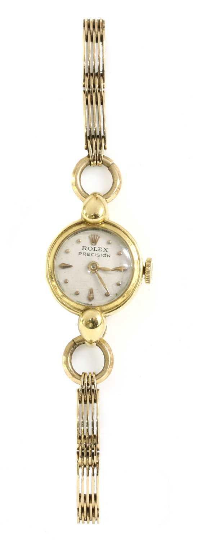 A ladies' 18ct gold Rolex 'Precision' mechanical bracelet watch,