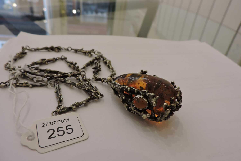 A Polish silver amber pendant, c.1970, - Image 3 of 4