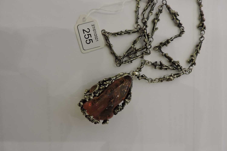 A Polish silver amber pendant, c.1970, - Image 4 of 4