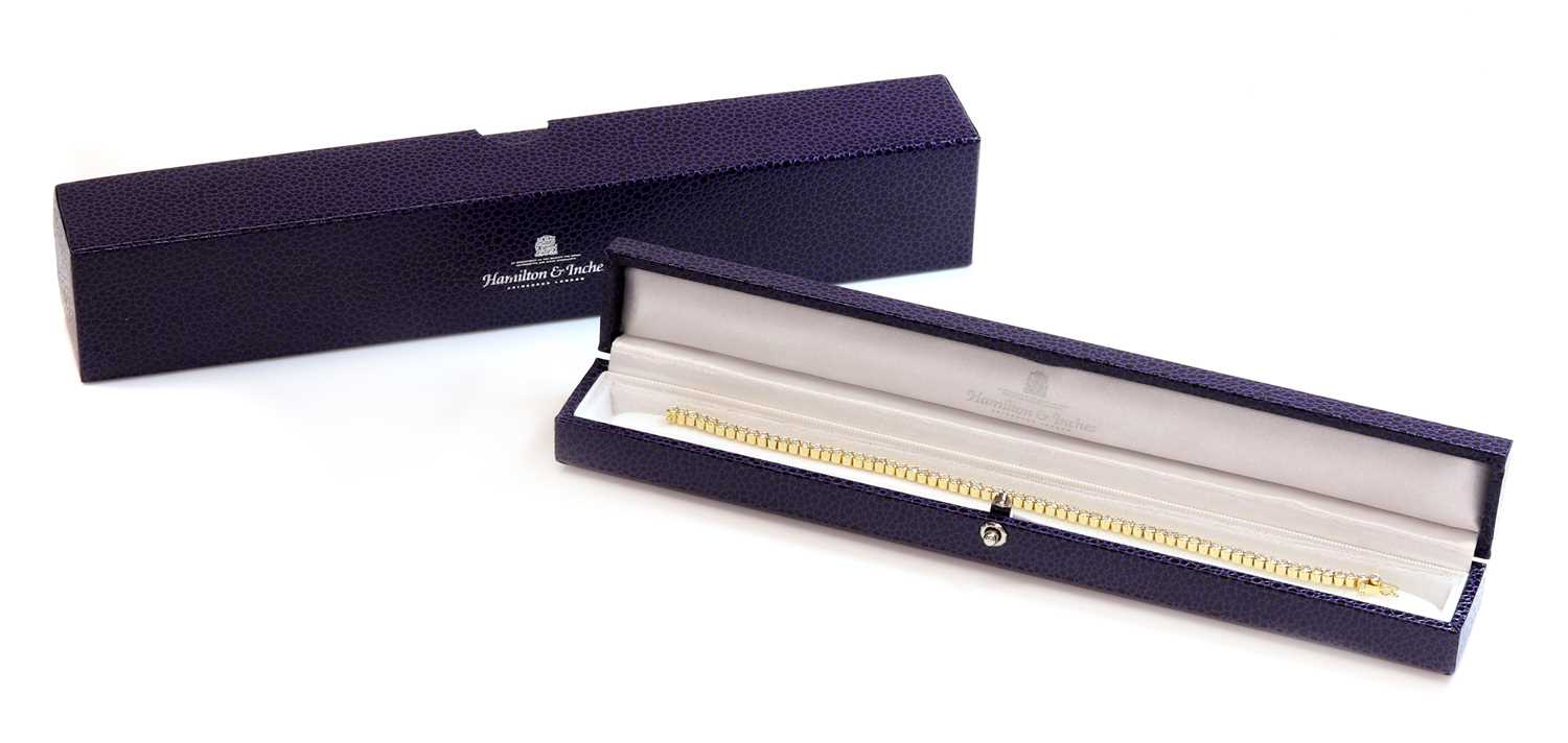 An 18ct gold diamond set line bracelet, retailed by Hamilton & Inches, - Image 2 of 2