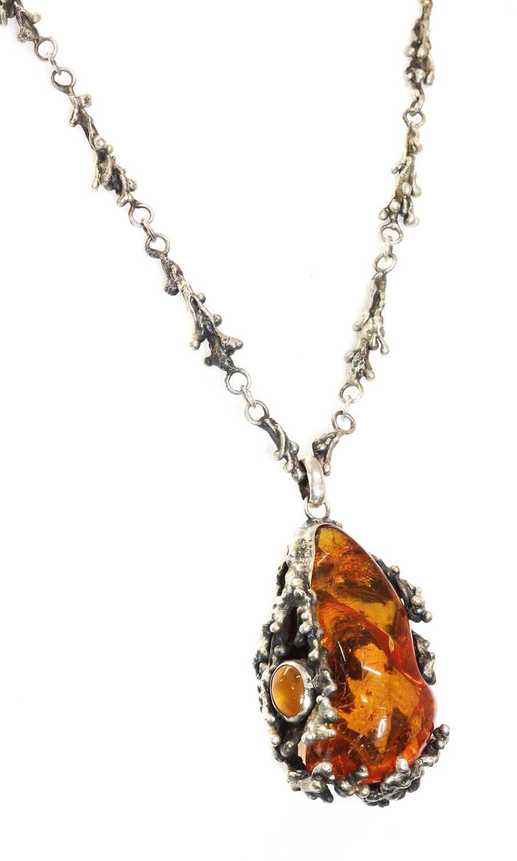 A Polish silver amber pendant, c.1970,