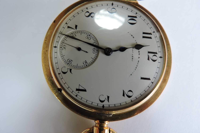 An 18ct gold Swiss side wind half hunter pocket watch, - Image 4 of 7