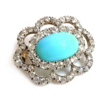 A late Victorian turquoise and diamond brooch/pendant, c.1890,
