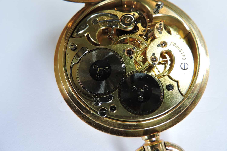 An 18ct gold Swiss side wind half hunter pocket watch, - Image 3 of 7