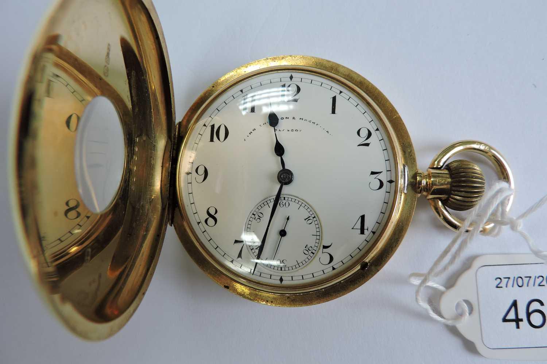 An 18ct gold Swiss side wind half hunter pocket watch, - Image 7 of 7