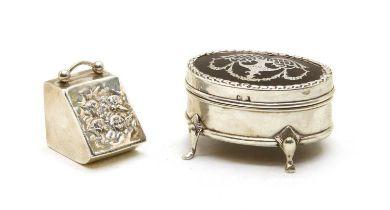 An Edwardian silver dressing table box,