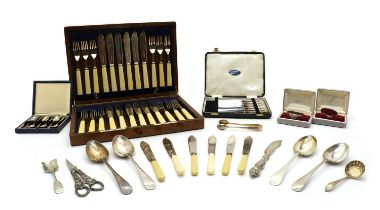 A collection of silver of silver plated items,