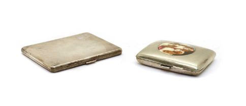 A silver cigarette case with milled decoration,