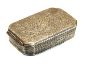 A George II steel tobacco box,