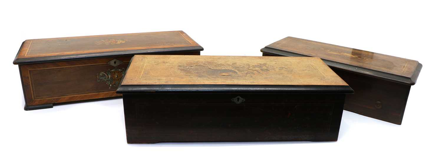 Three late 19th French cylinder music boxes
