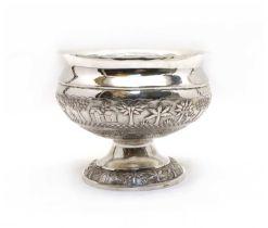 An Indian silver pedestal bowl,