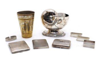 Three silver cigarette cases