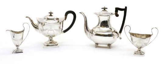 A silver four-piece matched teaset,